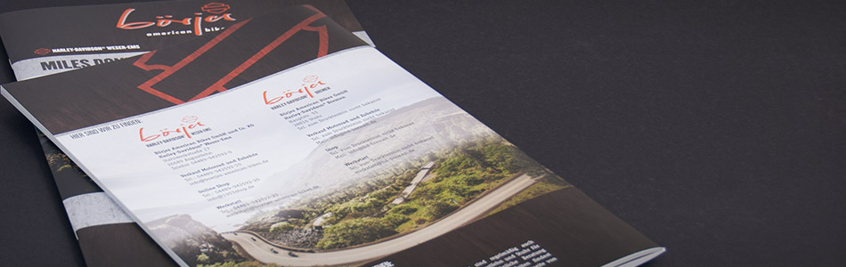 "Printdesign – Börjes American Bikes GmbH und Co. KG – Reise-""Magalog"" Miles don't matter ... moments do!"